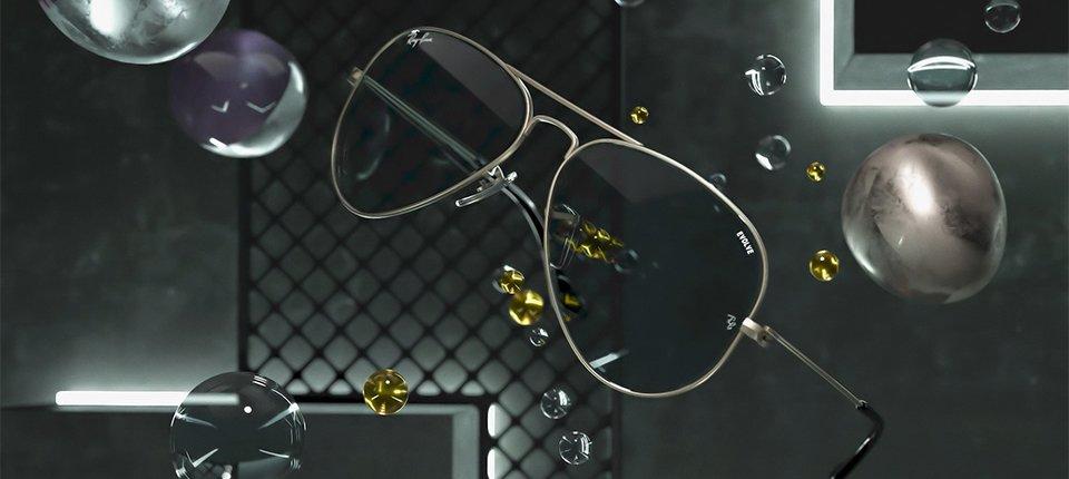 occhiale per 3D motion design animazione