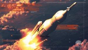 styleframe di transizione con lancio del razzo
