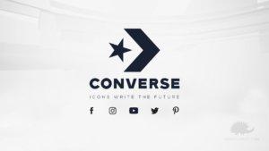 il logo converse viene visualizzato insieme ai link social e al payoff
