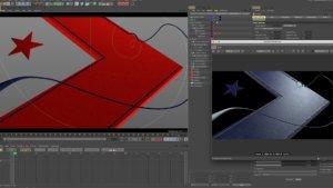 vieport 3D con la finestra di redshift